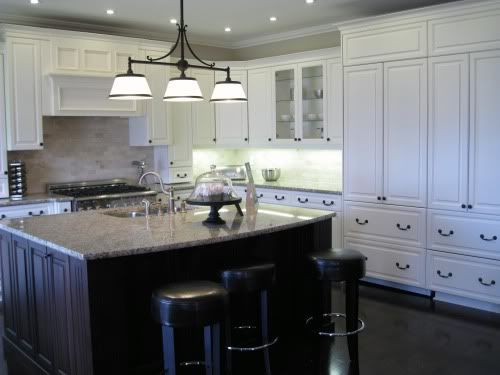 Granite dark island vs light cabinetry for the home pinterest white kitchens islands and - White kitchen with dark island ...