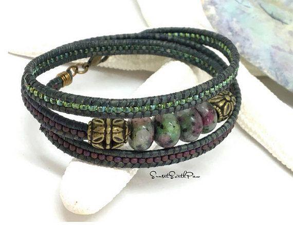Wrap Bracelet, Beaded Wrap, Leather Wrap, Triple Wrap Bracelet, Boho Bracelet, Beaded Leather Wrap, Bohemian Wrap, Gemstone Wrap, Seed Bead BY SUNSET SOUTHPAW #wrapbracelet #beadedbracelet #beadedwrap #leatherbracelet #handmade #jewelry #etsy #sunsetsouthpaw #lefthandcrafted #etsyseller
