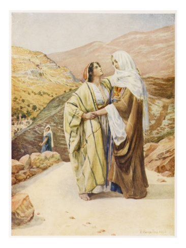 Ruth refuses to leave Naomi but goes with her to Bethlehem, leaving behind her life in Moab.- Ruth 1:15-17