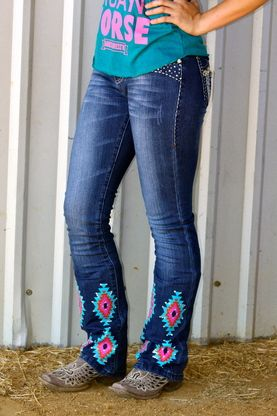 Ranch Dress'n   Aztec Jeans with Bling   $65