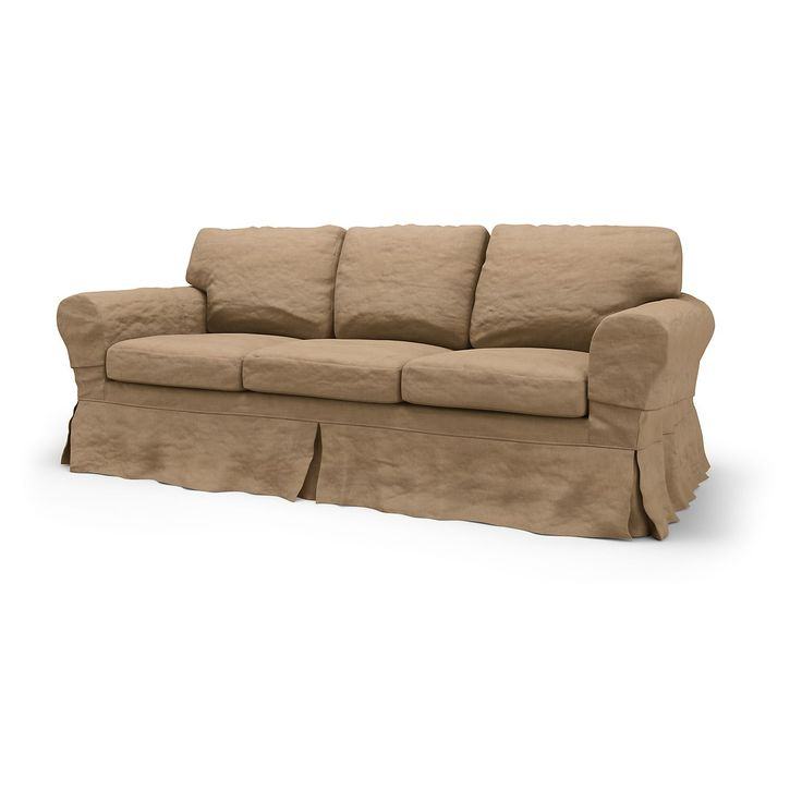 Ektorp, Sofa Covers, 3 Seater, Loose Fit Country using the fabric Chenille Sand Beige