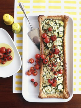 Zucchini and #feta tart with roasted cherry #tomatoes