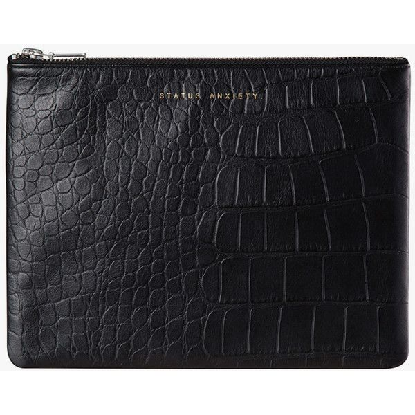 Status Anxiety Anti-Heroine Clutch (224.860 COP) ❤ liked on Polyvore featuring bags, handbags, clutches, leather purse, zippered tote, leather zip tote, leather tote handbags and handbags totes