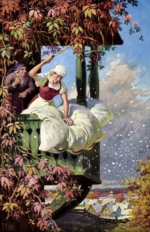 Frau Holle, beating her bedding and making it snow, by Otto Kubel (1930)