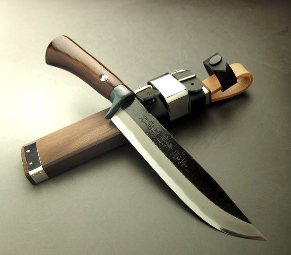 "HONMAMON | Rakuten Global Market: HONMAMON ""AZUMASYUSAKU"" Outdoor Knife, Sword Hatchet 150mm, Blade Edge : Shirogami Steel, Kurouchi, Double Bevel"