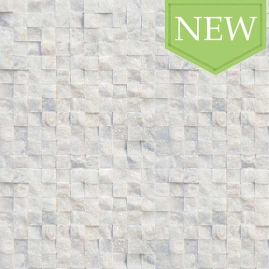 White Marble Squares Split Face Mosaic Tiles