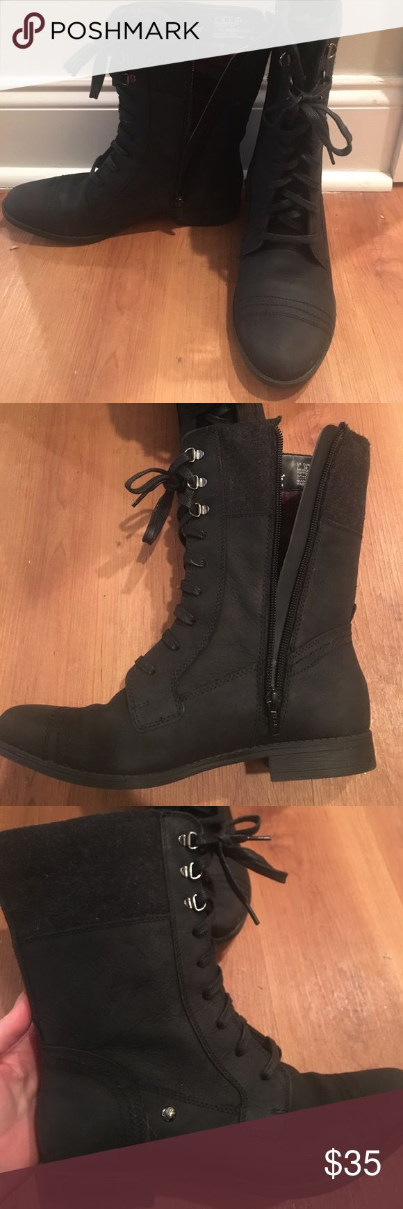 Brand new black weatherproof combat boots Brand new never worn combat boots. They are completely weather proof. You can jump in puddles and snow and your feet will remain dry and warm! Hush Puppies Shoes Combat & Moto Boots