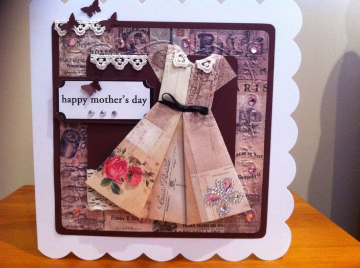 Origami folded dress and Parisienne papers - just layering in the right colours made this a beautiful card 2015