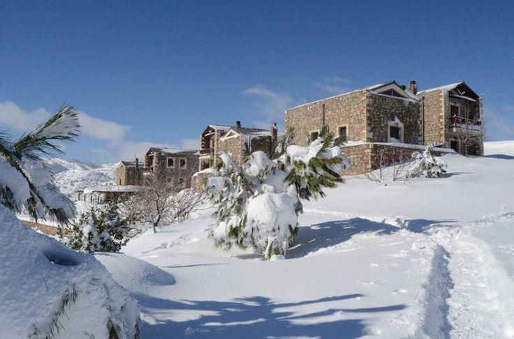 Beautiful snow has covered all the houses Arodamos