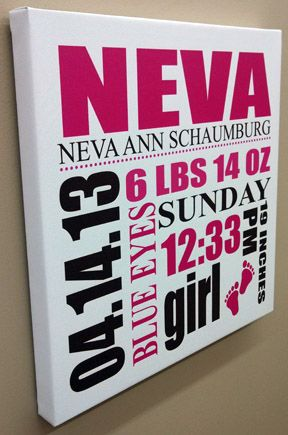 Canvas Wall Art for a Baby Girl - Add all of the birth information and hang in the babies room http://banners.com/canvas-wall-art