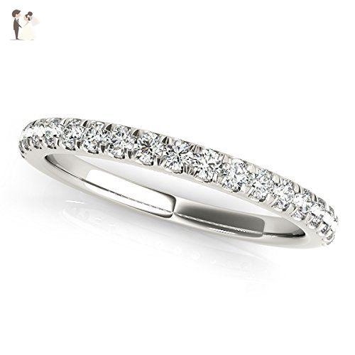 Diamond Wedding Ring band 1/4 Carat Round Cut 14k White Gold Bridal Jewelry - Wedding and engagement rings (*Amazon Partner-Link)