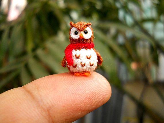 Brown Owl Red Scarf  Teeny Tiny Amigurumi Miniature Bird by SuAmi, $35.00