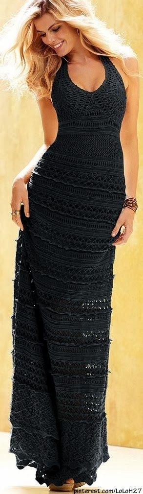 All Black Lace Maxi Dress