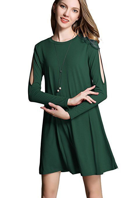 I found dresses that would look great to wear for on any occasion. For Example I was thrilled when I discovered many of these dresses were under ten dollars meaning I can buy a couple dresses guilt free.  Women's Casual Cold Shoulder Off Long Sleeve Cotton Tshirt