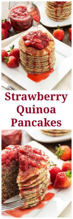 Strawberry Quinoa Pancakes | Quinoa adds flavor and texture in these amazing healthy and delicious pancakes! | @reciperunner