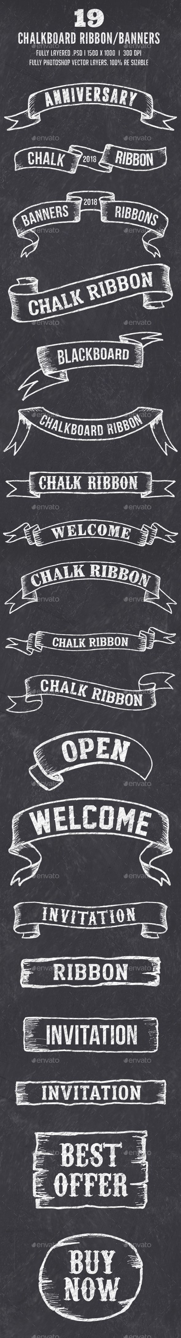19 Chalk Ribbon Banners / Banner Set - #Badges & Stickers #Web Elements Download here: https://graphicriver.net/item/19-chalk-ribbon-banners-banner-set/19718879?ref=alena994