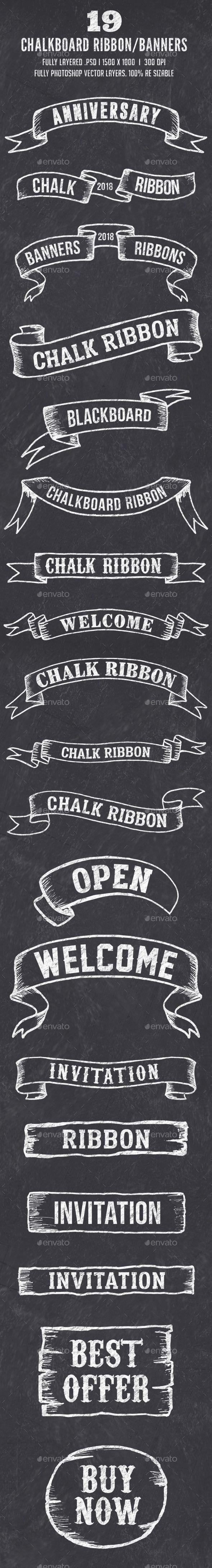19 Chalk Ribbon Banners / Banner Set
