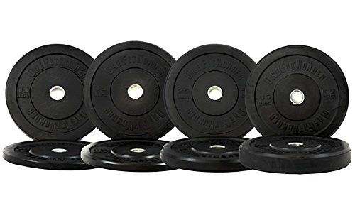 NEW 190 Lbs Black Bumper Plates Set O…