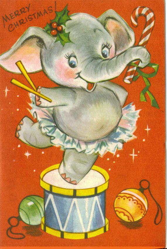 Vintage Christmas Card, Dancing Elephant, Unused   Pinterest ...