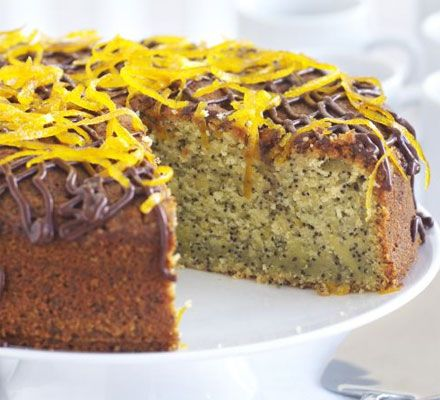 A light, zingy cake with a drizzle of chocolate and candied zest for a special finishing touch
