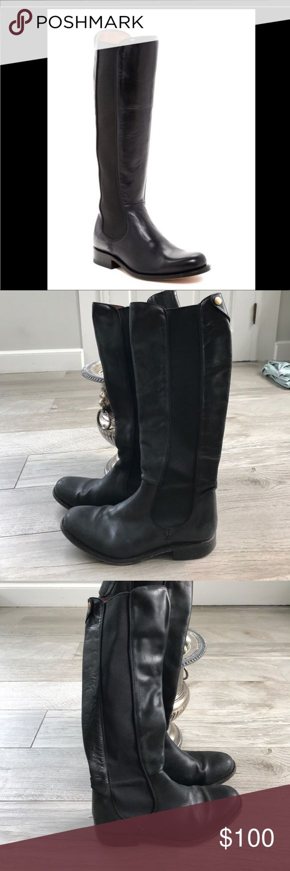 Frye Chelsea riding boots Used black Frye riding boots with elastic sides. Slip-on with a snap behind the knee for design. Worn a fair amount, but still in good condition. Frye Shoes Heeled Boots