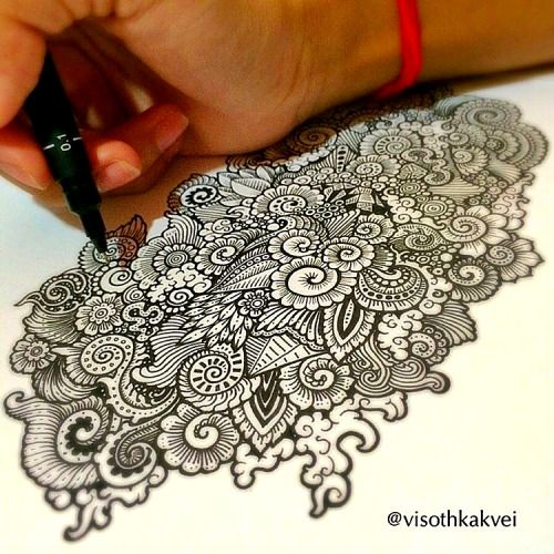 Detailed drawing by Cambodian artist Visoth Kakvei