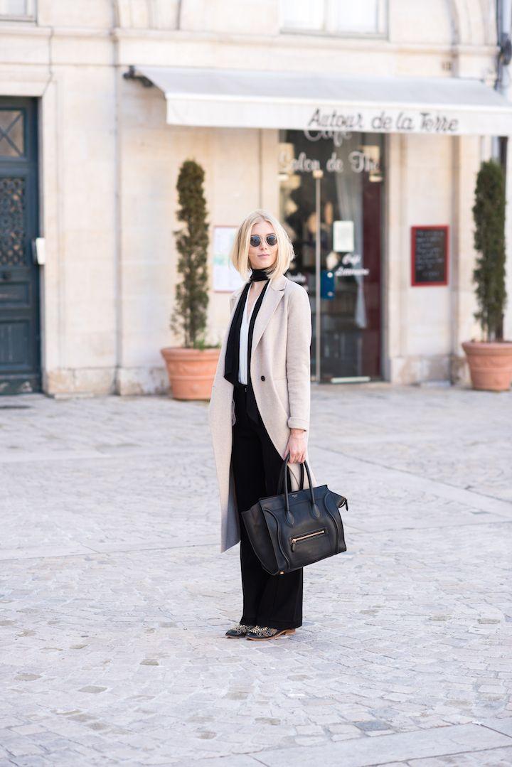 Beige wool coat with a skinny scarf and Céline mini luggage
