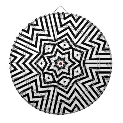 Modern Abstract Black and White design Dartboard With Darts
