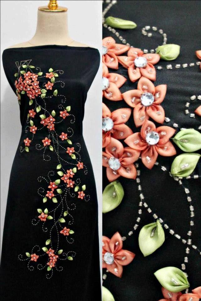 الجديد فى فن التطريز على الملابس بشرائط الساتان و العقيق روعة