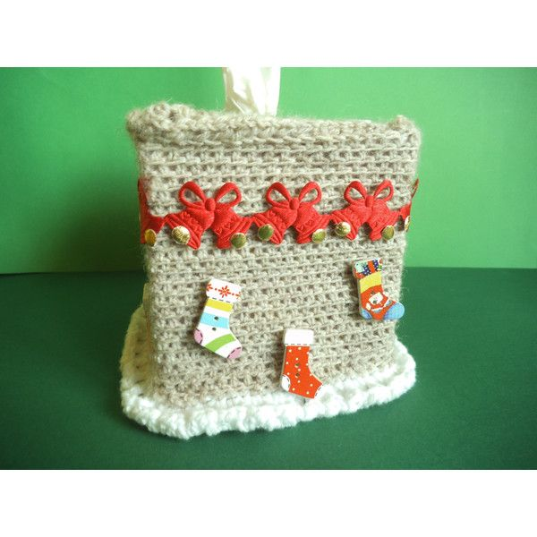 Santa tissue box, Cover for kleenex, tissue box cozy, crochet tissue... ($17) ❤ liked on Polyvore featuring home, bed & bath, bath and bath accessories