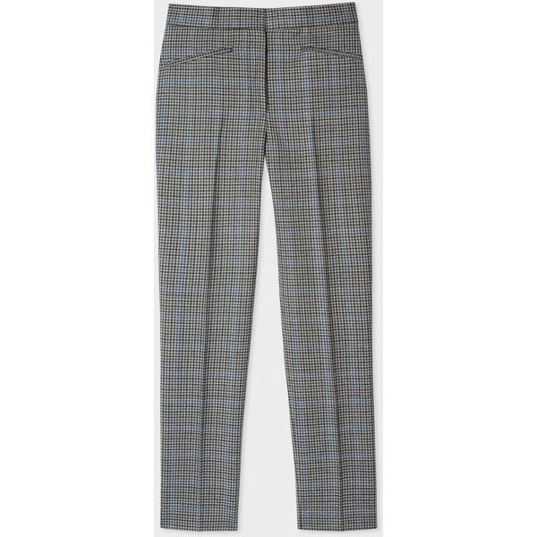 Paul Smith Women's Slim-Fit Puppytooth-Check Wool Trousers ($525) ❤ liked on Polyvore featuring pants, slim trousers, zipper pants, slim pants, woven pants and checkerboard pants