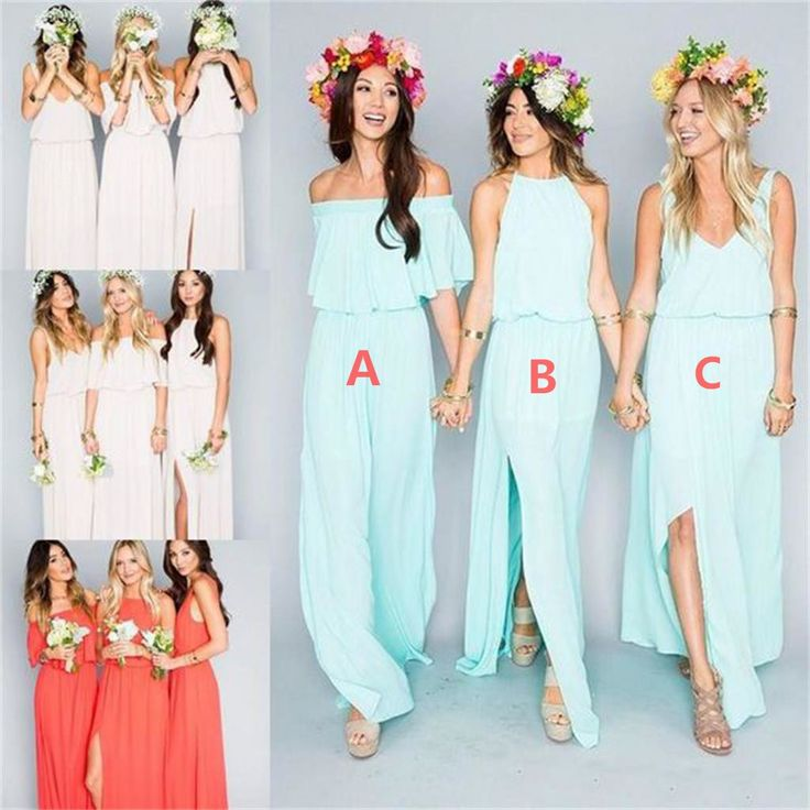 Cool  Chiffon Cheap Long Pretty Young Mismatched Side Split Bridesmaid Dresses WG