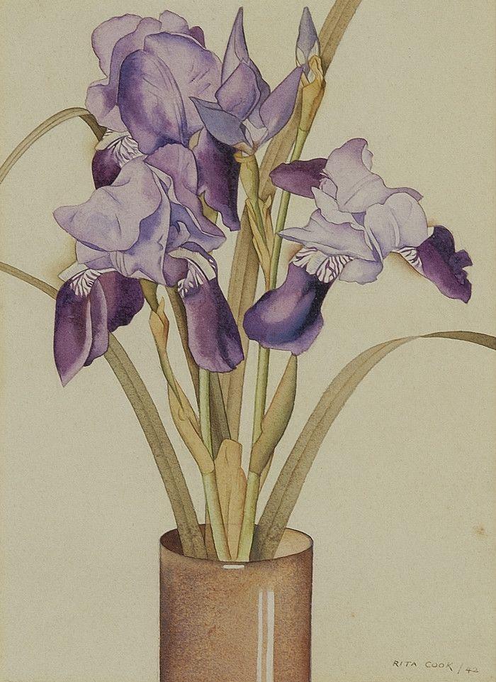 Irises (1942), watercolour - Rita Angus