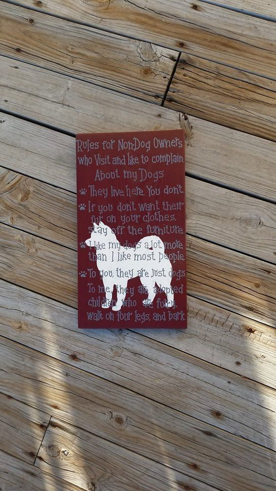 Rules for Non Dog Owners - Hand Painted Wooden Sign - Pets Non Pet Owners - Husky Breed - Dog Wall Hanging - Husky Sign - Snow Dog - pinned by pin4etsy.com