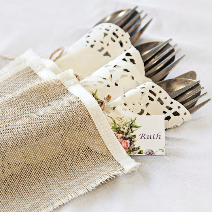 rustic cutlery holders linen with ivory satin trim silverware sleeves set of 6