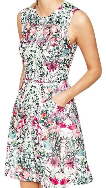 0c20c8dd7c21bf Ted Baker Cream Multi Floral Gaea Fit   Flare (Us10) Short Cocktail Dress  Size