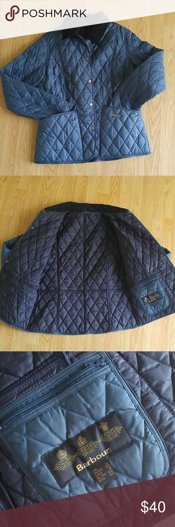 Barbour Blue Quilted Jacket Corduroy Collar Classic and stylish blue Barbour quilted jacket. Blue with brass snaps, black corduroy collar. Front pockets, inner zip pocket. New without tags, never worn. Make me an offer or bundle to save! Barbour Jackets & Coats