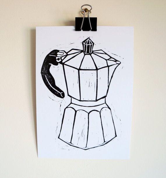 Moka Pot Coffee Block Print stove top espresso maker Hand printed monochrome black and white modern kitchen wall Art drink foodie Print. A5.