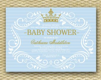 Royal Baby Shower Invitations Prince Blue and Gold by cardmint