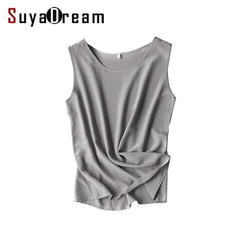 Women silk tank tops 100% Natural silk shirt Sleeveless Chiffon Tanks Solid  basic top shirt 2018 Summer Gray Black Pink Wine dac13cd85b
