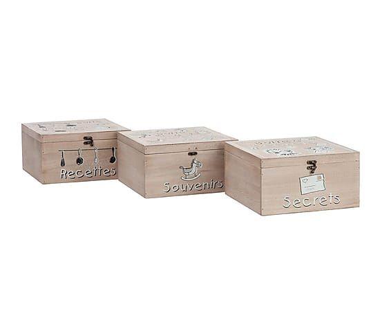 Set de 3 cajas en madera, beige - 28x28 cm