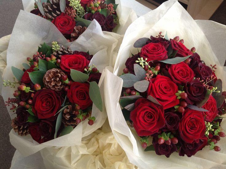 High Quality Dark Red Winter Bouquet | Bristol Winter Wedding Flowers | The Rose Shed |  Wedding Flowers