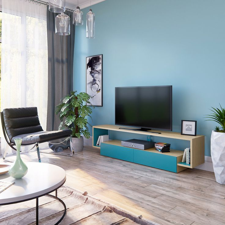 Тумбочка под телевизор: 45 современных идей для гостиной (фото) http://happymodern.ru/tumbochka-pod-televizor-45-foto-sovremennye-varianty-dlya-gostinoj-2/ Стильная тумба под телевизор в цвет стены