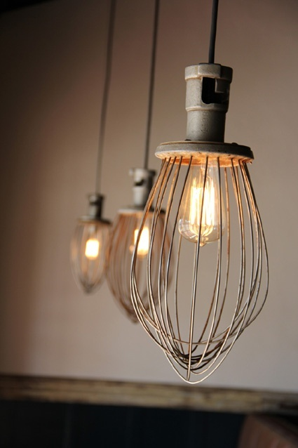 Lights made from whisks from a commercial kitchen mixer. #DIY