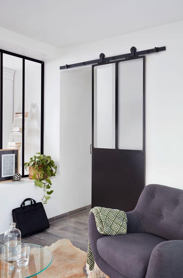 Porte coulissante verrière pour système en applique ou à galandage, Lapeyre