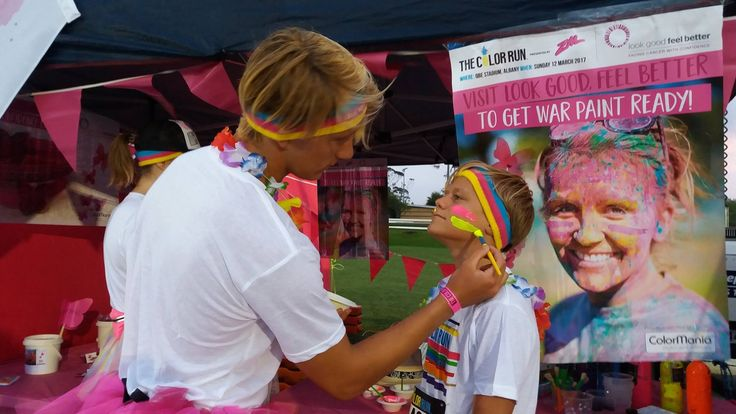 Preparing by getting War Paint Ready for Auckland Color Run, March 12 2017