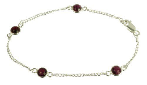 "Sterling Silver with 4 Garnet Round Cabochon Bracelet, 7.5"" Lita. $16.75. Save 44%!"