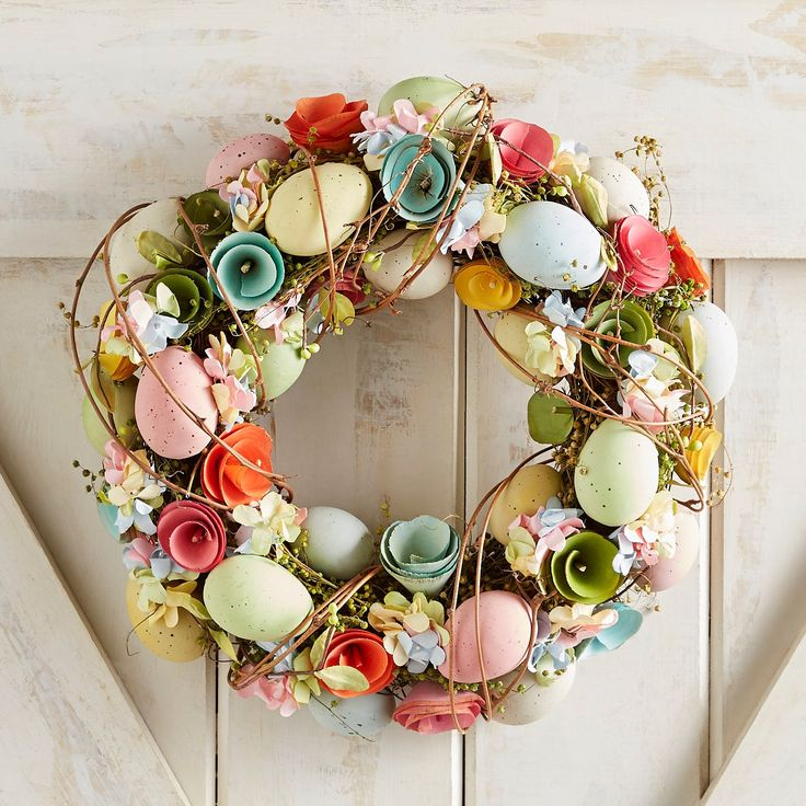 188 best holiday gifts spring easter images on pinterest inspired by an easter garden our delightful wreath is handcrafted with colorful poplar curls faux eggs and lifelike florals negle Choice Image