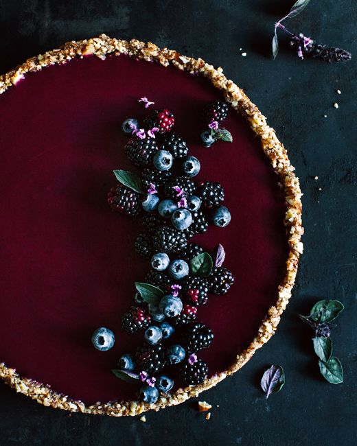 dark berries & basil tart #vegan