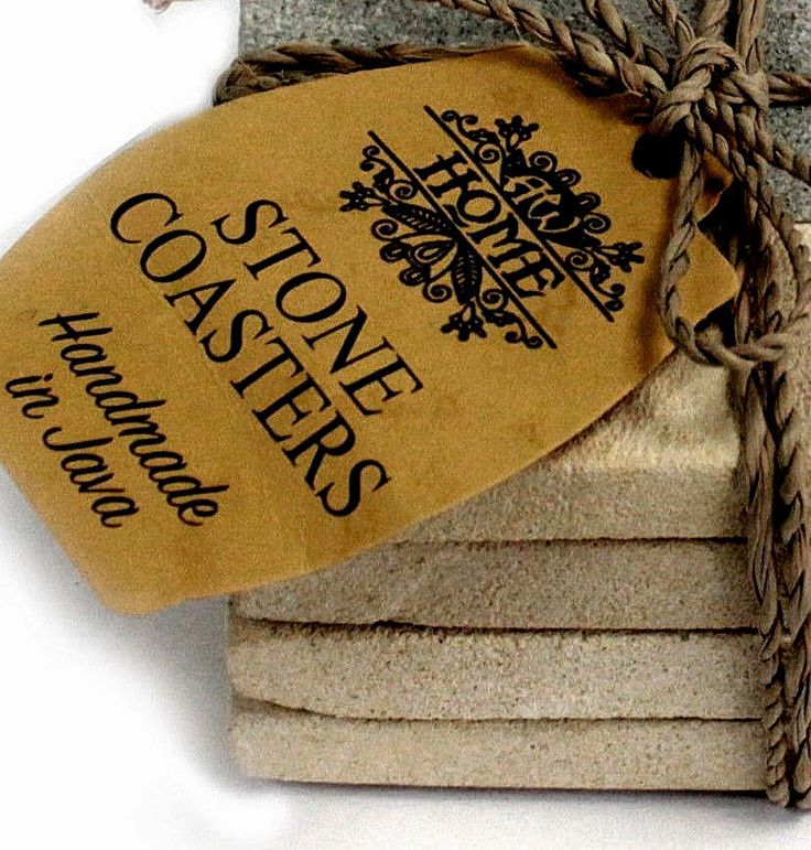 4 Square Natural Stone Coasters Set Handmade Hand Carved Gift Durable Sandstone